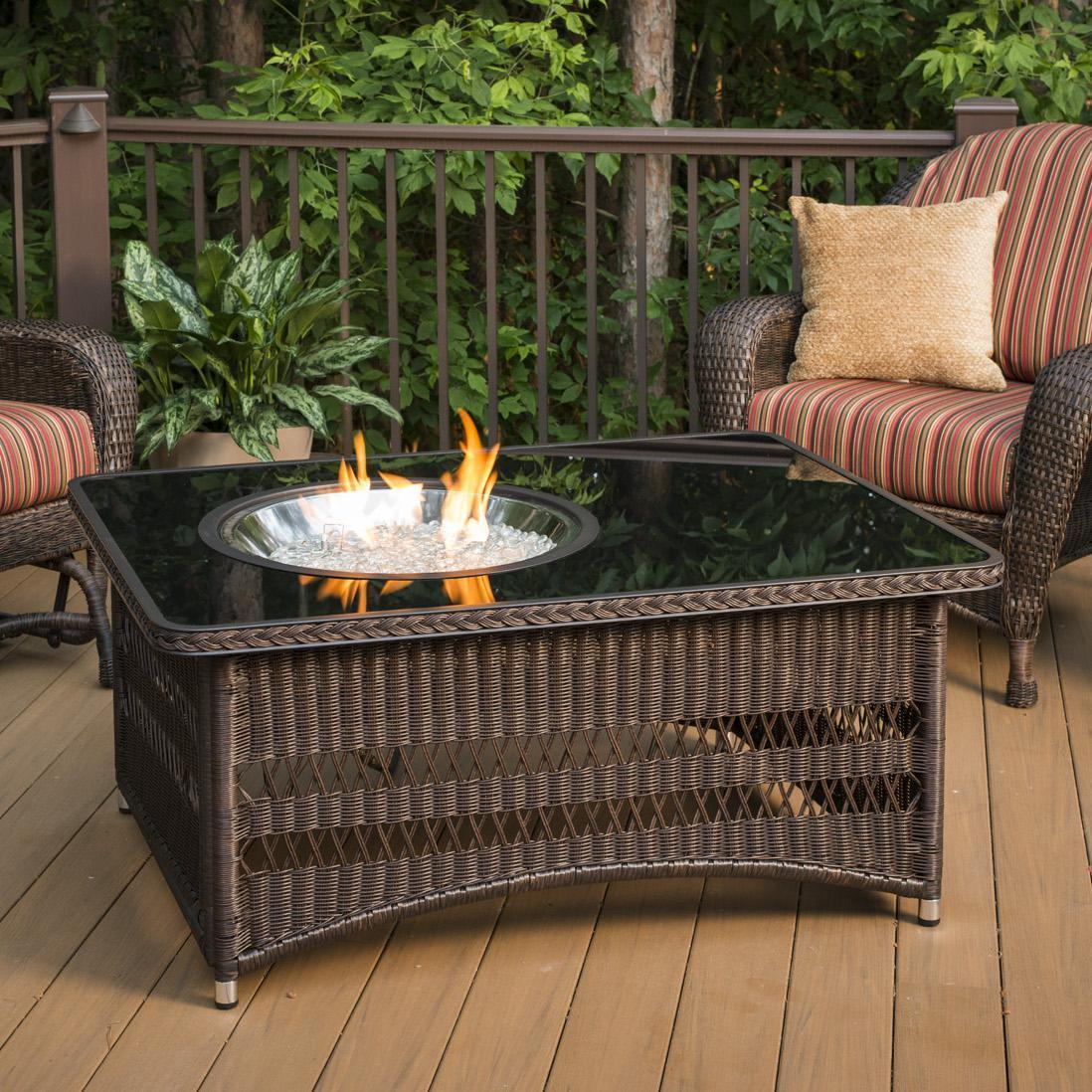 The Outdoor Greatroom Company Naples 48 Inch Rectangular Propane Gas Fire Pit Table With 20 Inch Round Crystal Fire Burner Brown Naples Ct B K Bbqguys Fire Pit Table Gas Firepit Natural Gas