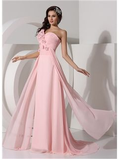 Charming One Shoulder Beading Flower A-Line Floor Length Evening/ Prom Dress
