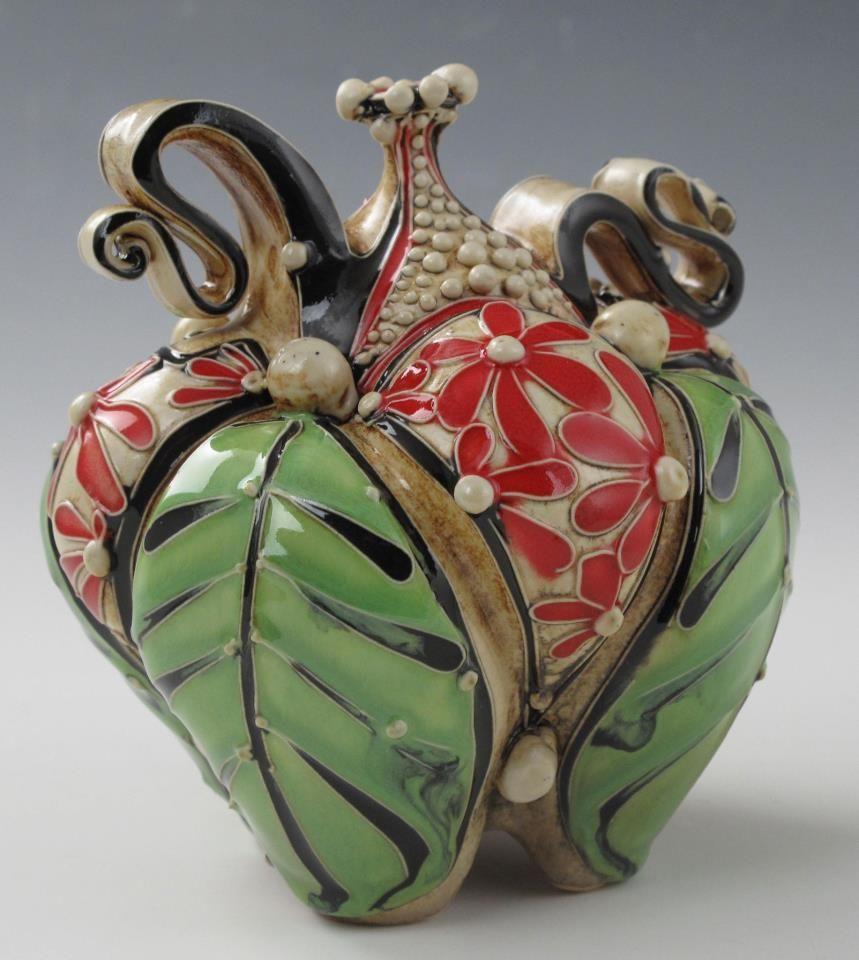 Carol Long Red Flower Bottle Pottery Art Porcelain Art Ceramics