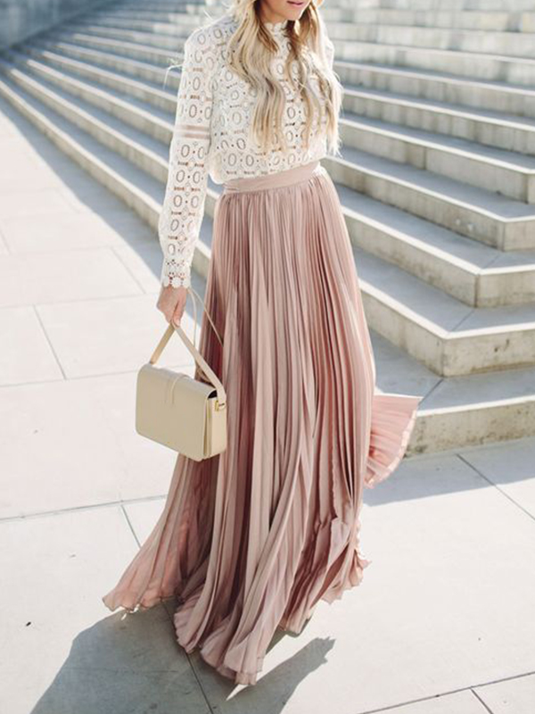 Pink Patchwork Pleated High Waisted Flowy Big Swing Bohemian Skirt