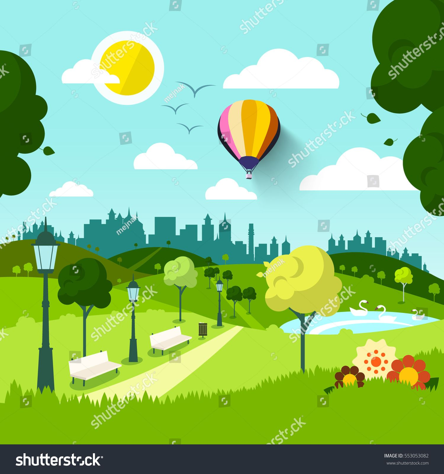 City Park Vector Nature Landscape Abstract Green Natural Scene With Flowers Sunny Day In Town Sponsored Sponsored Na Abstract City Park City Abstract