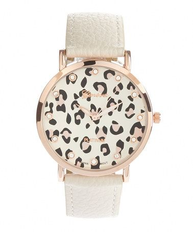 Loving this White & Rose Goldtone Leopard Dial Strap Watch on #zulily! #zulilyfinds