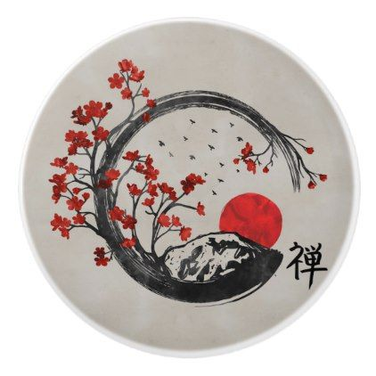 Zen Enso Circle and Sakura Branches Ceramic Knob | Zazzle.com