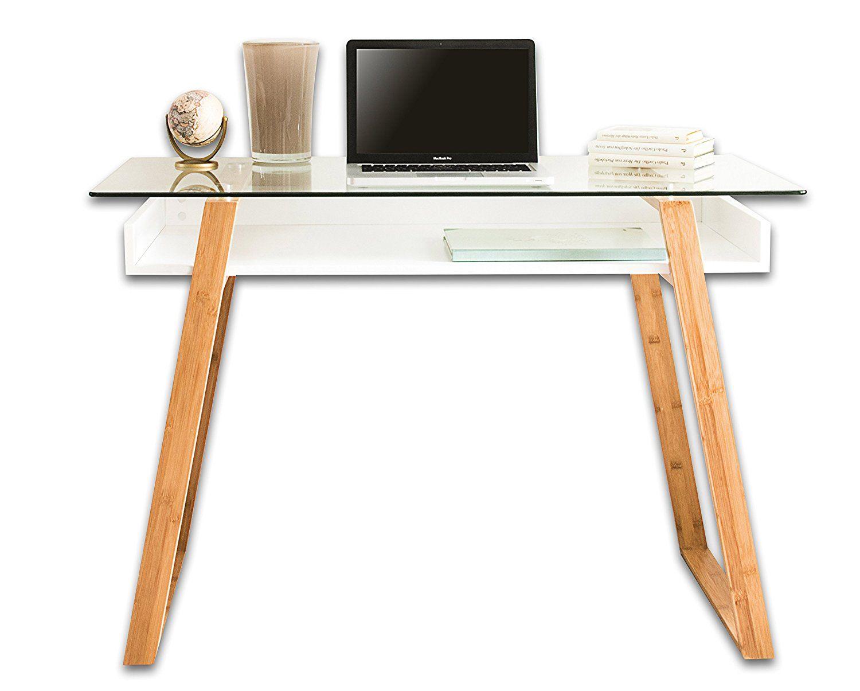 Contemporary Desk Combining Glass And Wood bonVIVO Writing Desk MASSIMO Modern