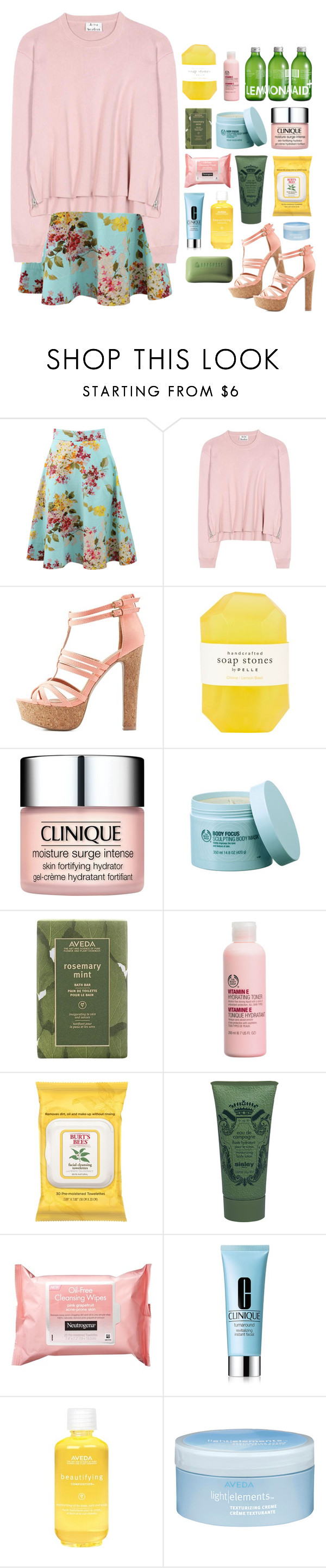 """""""❀Summer Days.❀"""" by pasteipuke ❤ liked on Polyvore featuring Blumarine, Acne Studios, Charlotte Russe, Pelle, Clinique, The Body Shop, Aveda, Burt's Bees, Sisley Paris and Neutrogena"""