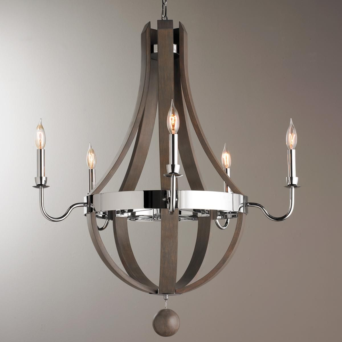 Wood And Chrome Barrel Chandelier With