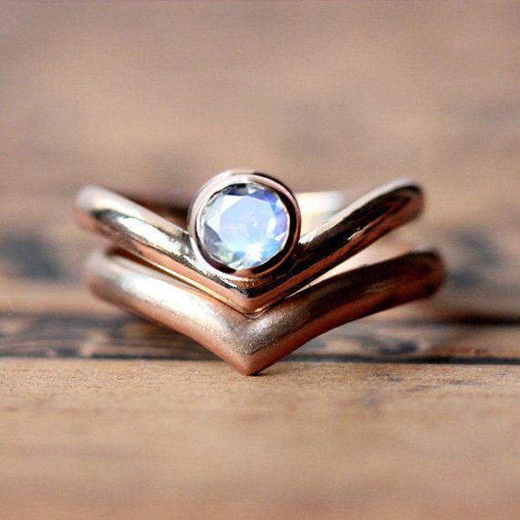 Moonstone Engagement Ring Set 14k Rose Gold Rainbow Modern Arrow Rings Custom Made To Order