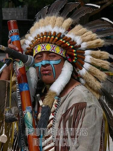 Portrait of Red Indian also called Native American stock