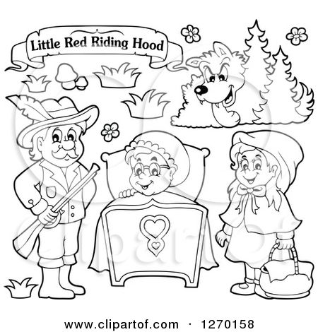 Clipart Of A Black And White Little Red Riding Hood Banner And Characters Royalty Free Vector Free Vector Illustration Little Red Riding Hood Red Riding Hood