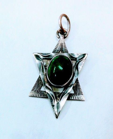 Eilat Stone Star Of David Silver Necklace Vintage Israeli