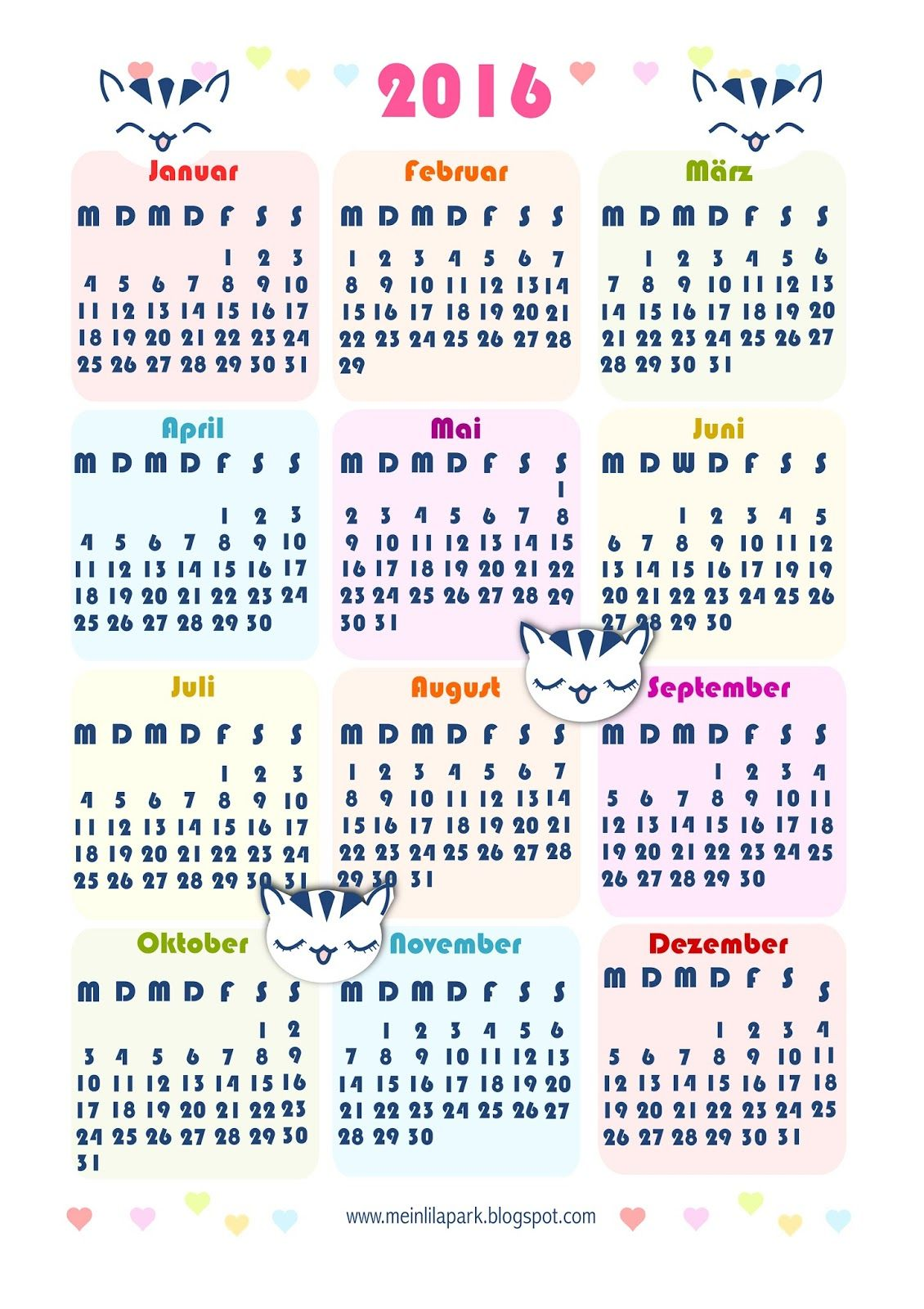 Free printable 2016 kawaii calendar - ausdruckbarer ...
