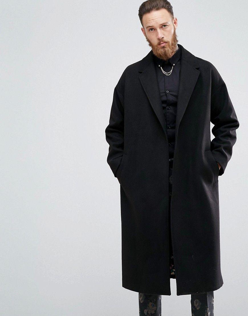 Devils Advocate Premium Wool Blend Duster Coat Black Mens Wool Coats Mens Coats Coat