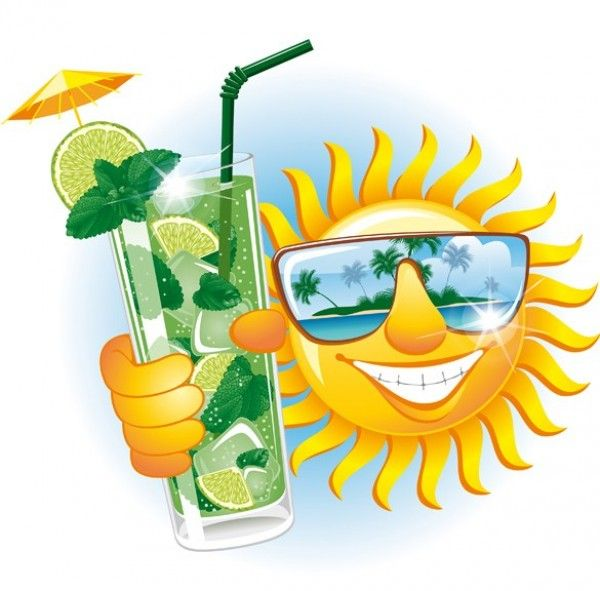 Smiling Sun Tropical Island Vector Illustration - http://www.dawnbrushes.com/smiling-sun-tropical-island-vector-illustration/