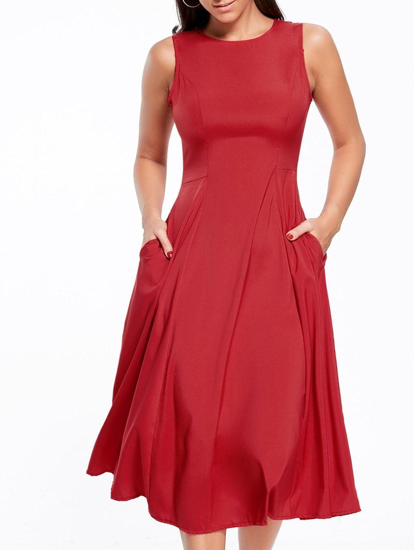 57143475b0e Long A Line Sleeveless Semi Formal Plain Prom Dress - RED M
