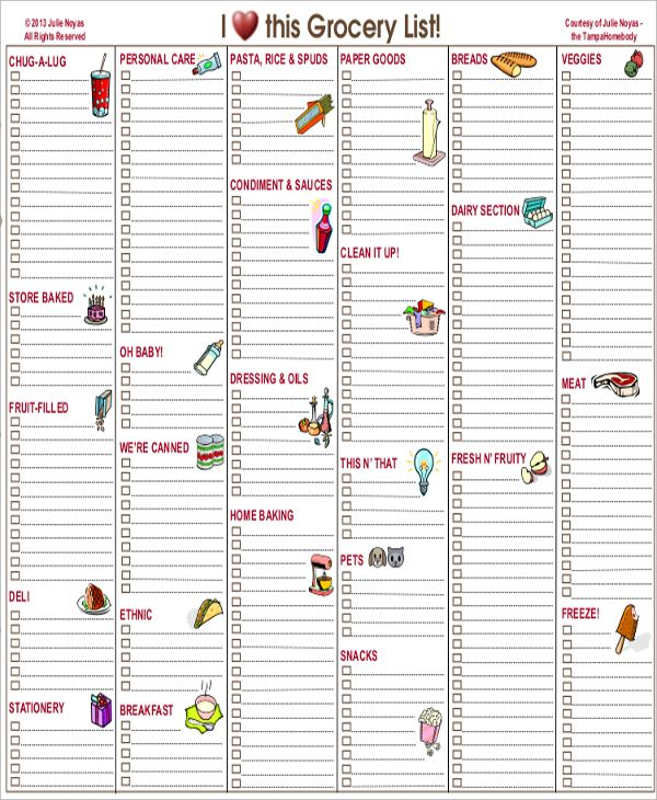 Best Grocery List Template Grocery List Template Free Printable - printable grocery list template