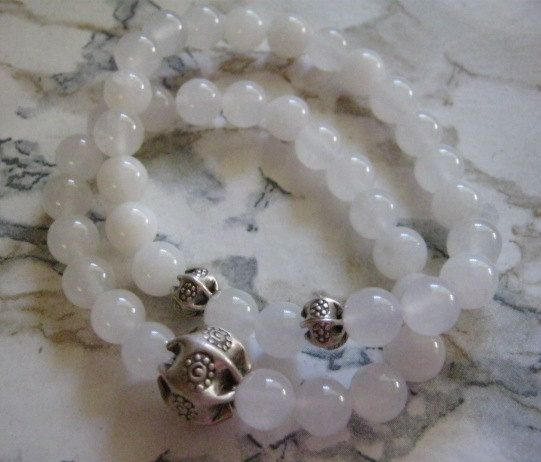 Snow Quartz Bracelets by janislogsdongems on Etsy, $25.00