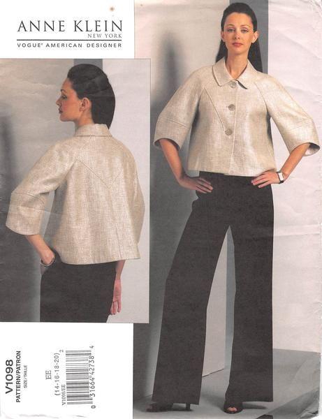 VOGUE 1089 - FROM 2009 - UNCUT - MISSES JACKET & PANTS | Pattern ...