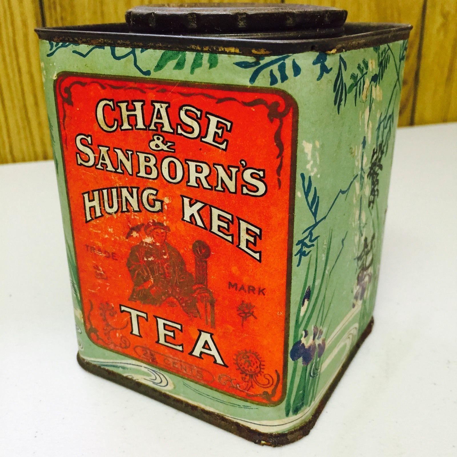 Chase Sanborn S Hung Kee Tea Tin Red Label On Green Leaf Pattern Rectangular Tin C Early Mid 20th Centu Vintage Tea Tins Tea Tin Boxes Tea Cups Vintage