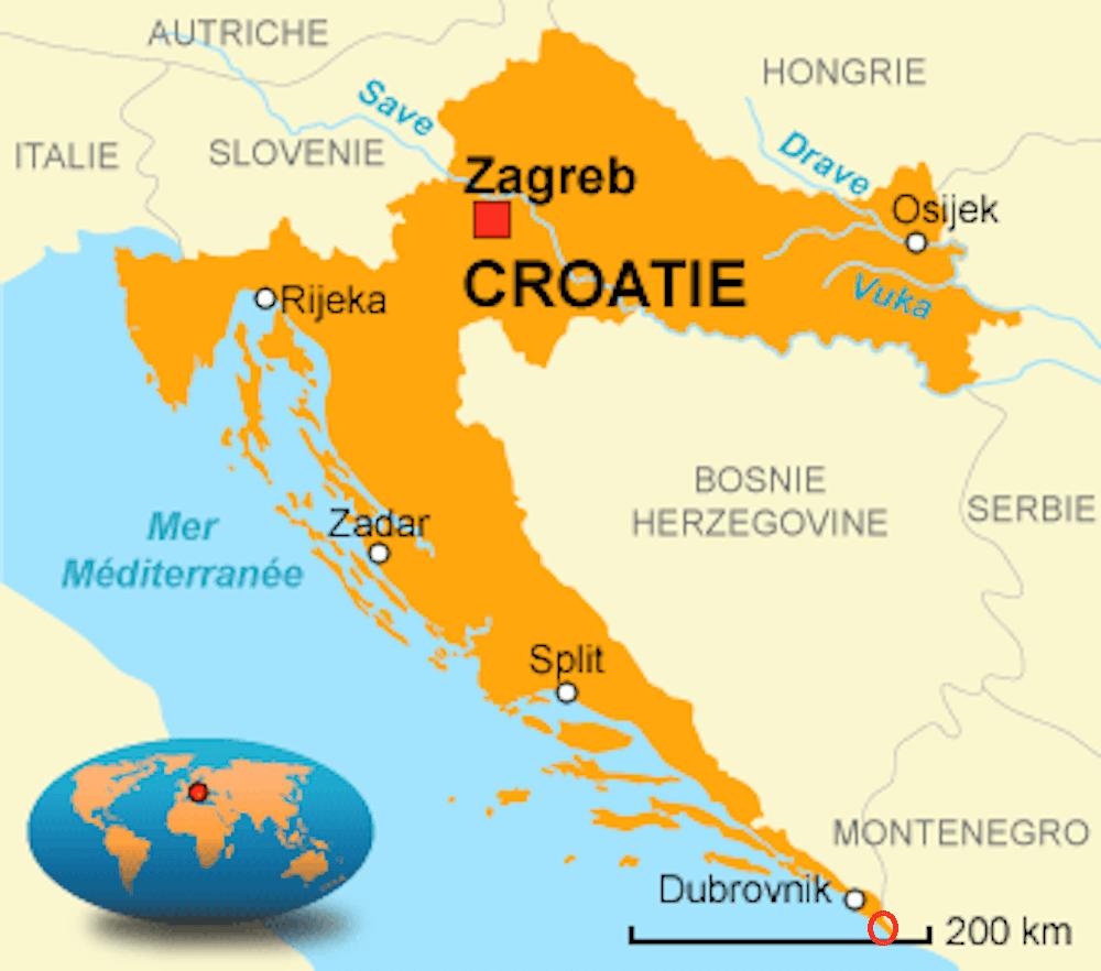 carte croatie dans le monde