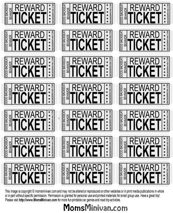 travel tickets for kids printable page backseat behavior teacher