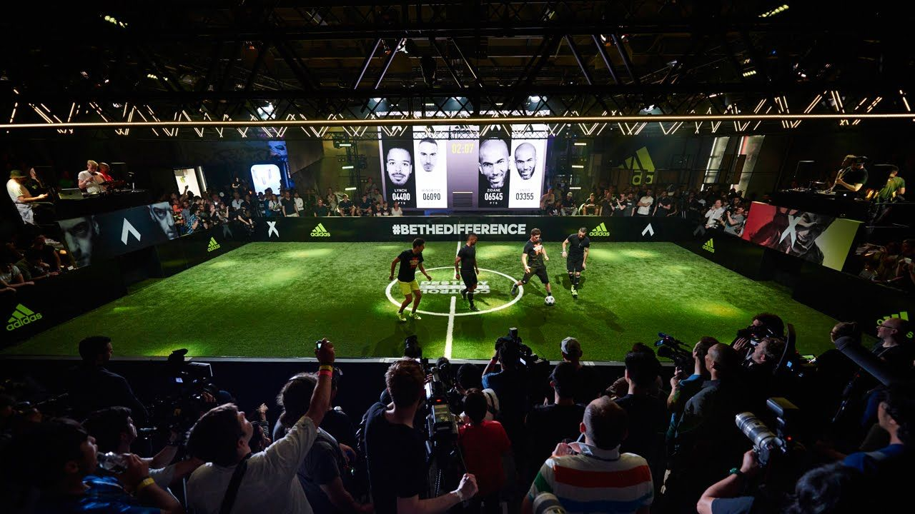 cubierta regalo escalera mecánica  adidas Ace, X and Messi Launch at The Base, Berlin With Zinedine Zidane,  Skill Twins and Mesut Ozil   Indoor soccer field, Sports training facility,  Street soccer