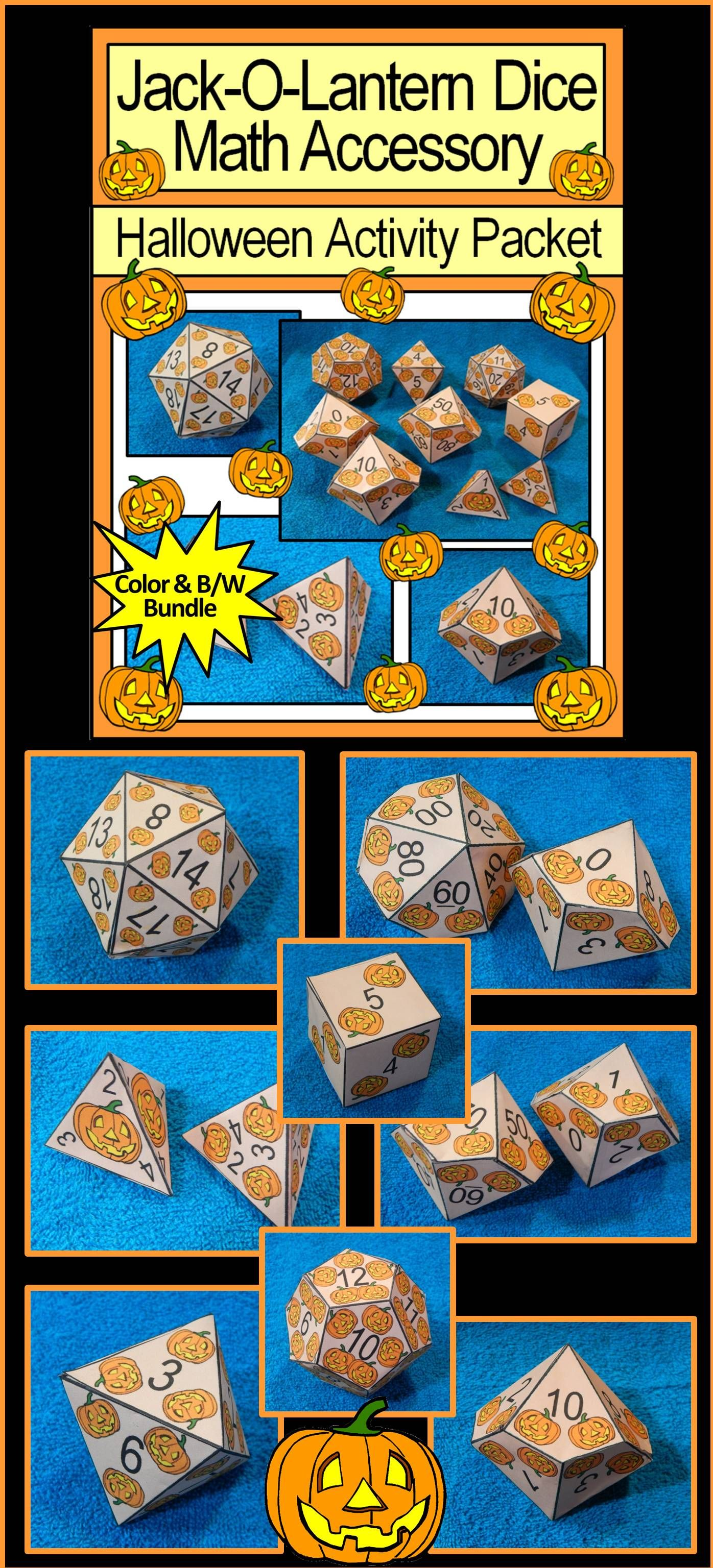 Halloween Activities Jack O Lantern Dice Templates Halloween Math Center Bundle