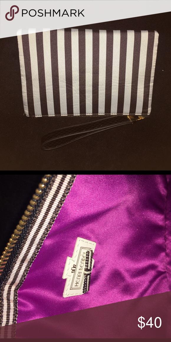 Henri Bendel Canvas Striped Clutch Case Excellent condition!! Henri Bendel Bags
