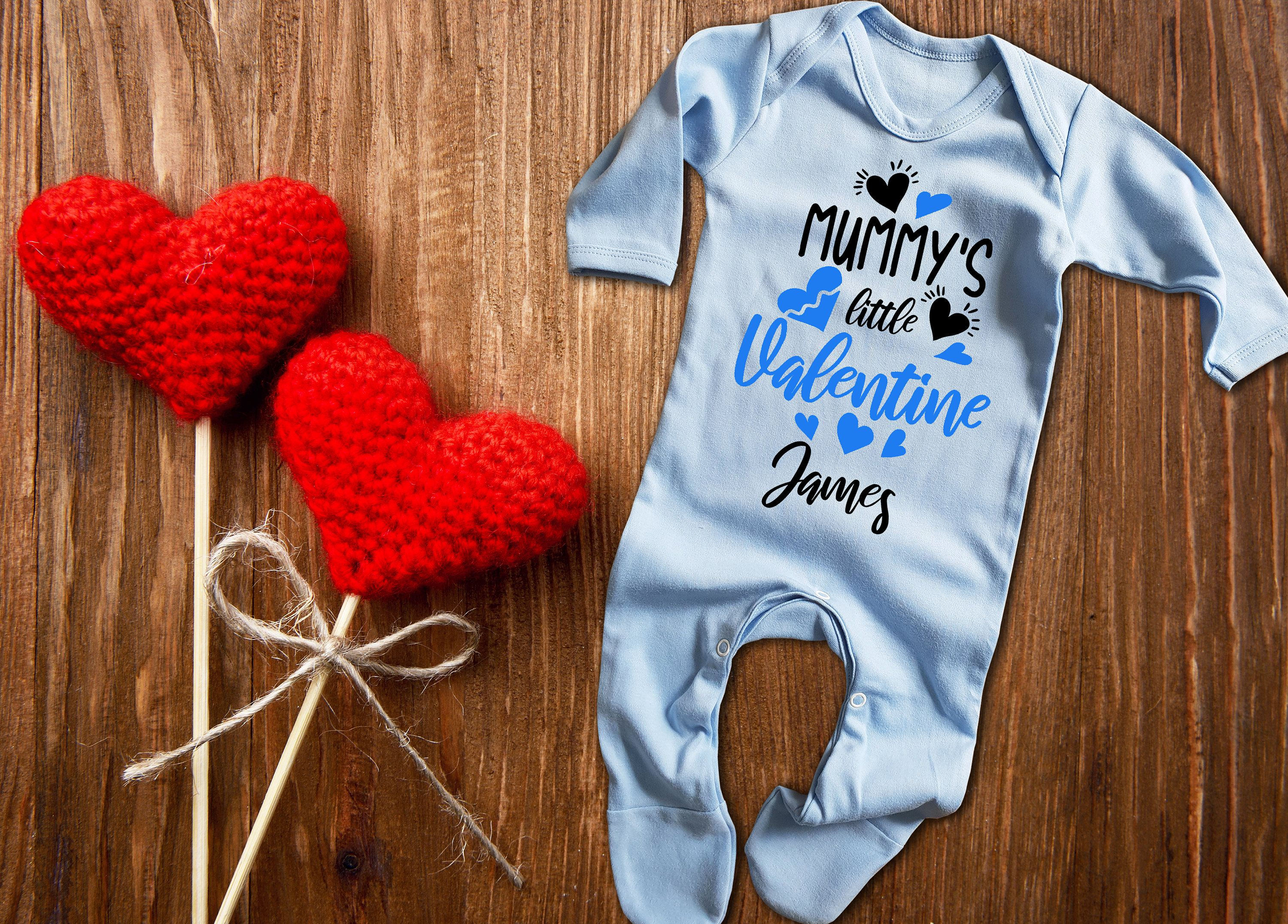 Custom Mummy S Little Valentine Blue Long Sleeve Baby Grow Rompersuit Sleepsuit Bodysuit With Hearts Valentine In 2020 Baby Grows Little Valentine Valentines Day Baby