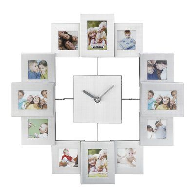 Vonhaus 12 Photo Frame Wall Clock Color Silver Frames On Wall Photo Frame Wall Photo Wall Clocks