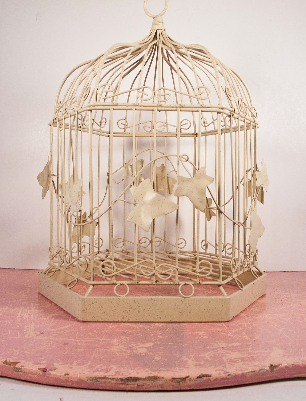 Sale Vintage Metal Birdcage Shabby Chic Off White Decor 65 00 Via Etsy Metal Leaves Decor Vintage Bird Cage White Decor