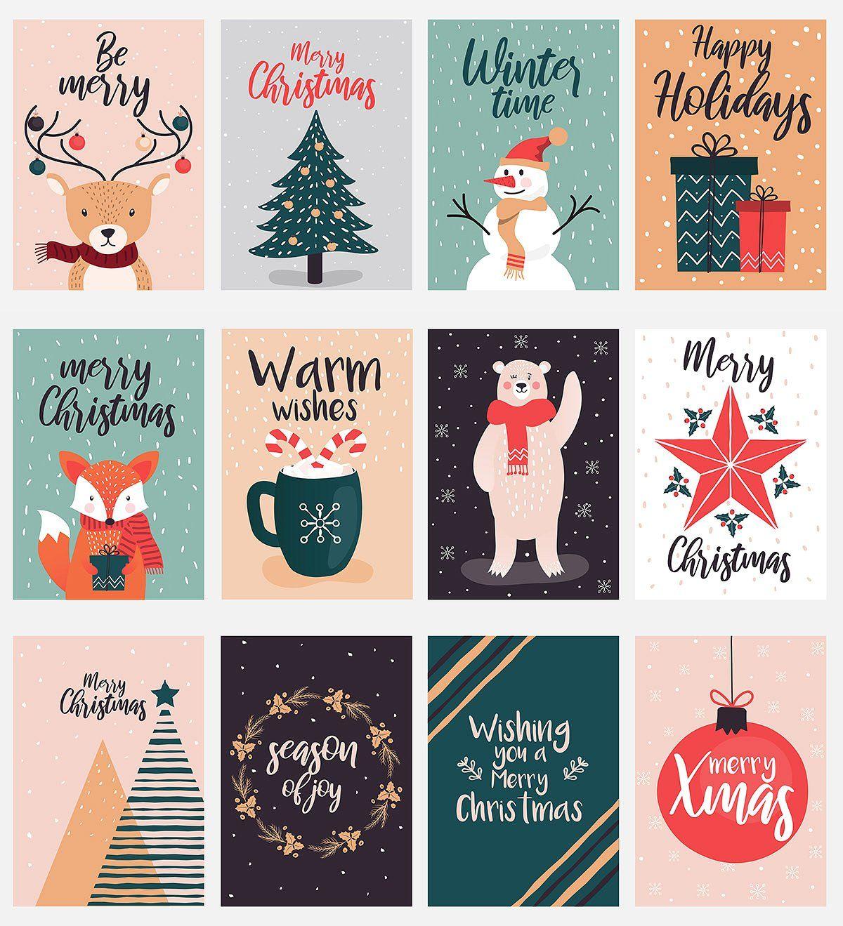 Hand Drawn Christmas Greeting Cards Christmas Card Illustration Christmas Graphic Design Christmas Graphics