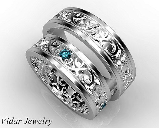 His Ans Her Blue Diamond Matching Band Set,Wedding Band Set,Unique Matching  Wedding