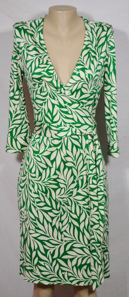 7fe24b45821 DIANE VON FURSTENBERG VINTAGE Green Ivory Laurel Leaf Silk Julian Wrap Dress  10  DVF  WrapDress  Casual