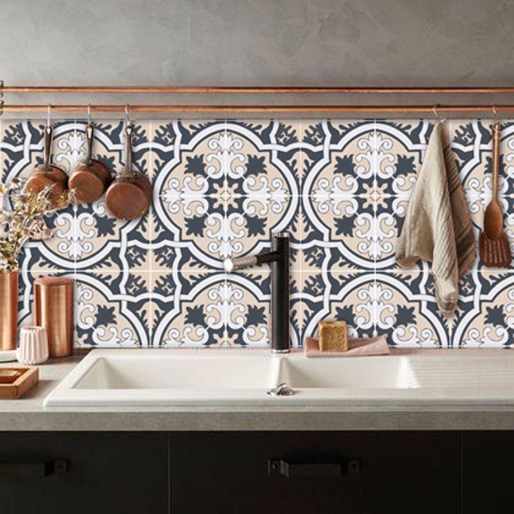 Firenze Vinyl Tile Sticker Bathroom Splashback Splashback Vinyl Wallpaper