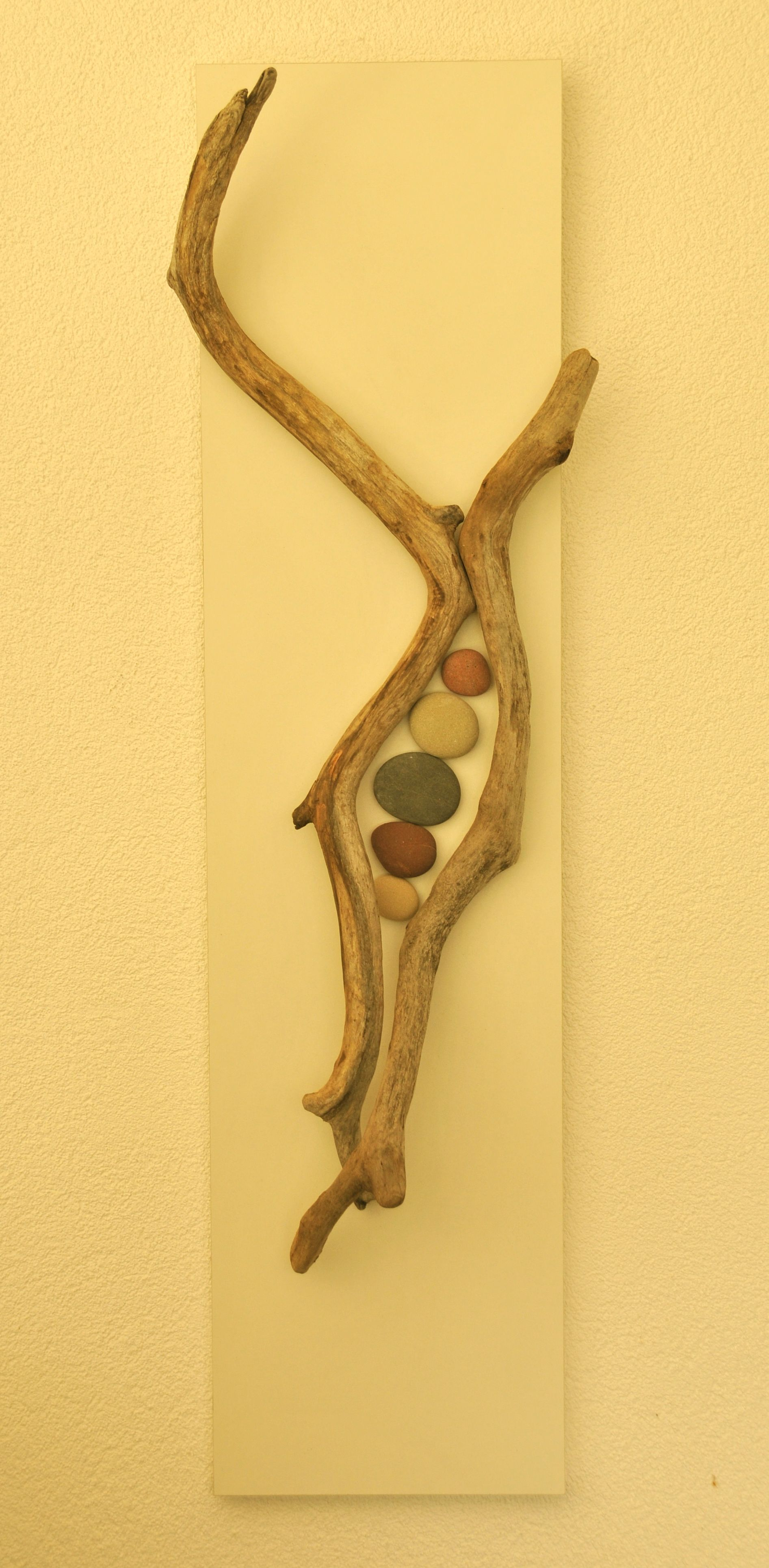 Driftwood and Beach Stones Wall Sculpture | wooden stuff | Pinterest ...
