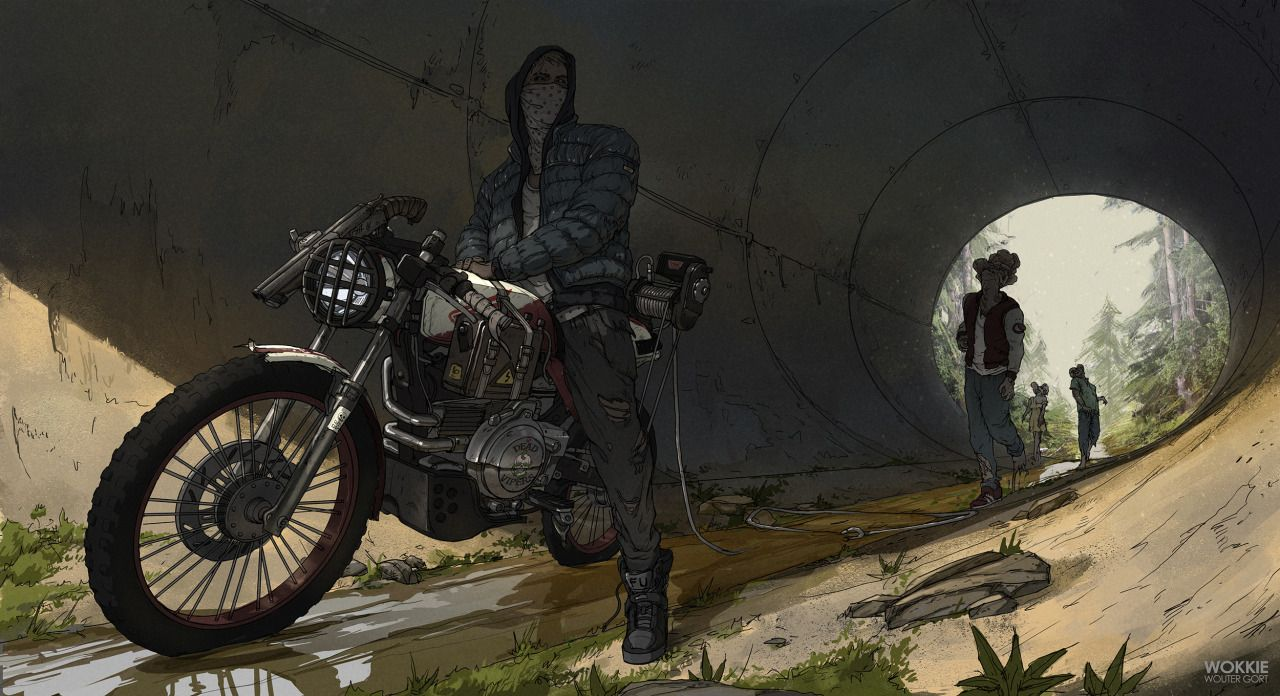 Challenge 3 for the Brainstorm Facebook group! The challenge was to combine any kind of vehicle with scrap to either kill or capture zombies. I had the idea of this street kid that uses his bike to capture zombies. He took a winch from an old pickup and connected it to his bike, connecting the rotating part to the back wheel of his bike. When the zombie walks into the trap, he accelerates and the winch starts rotating, 'reeling' the zombie in. At this point the kid turns on the ...