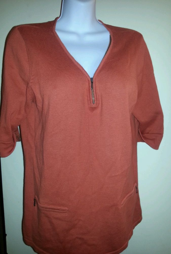 Coldwater Creek Women's Burnt Orange Short Sleeve Cardigan Sweater ...