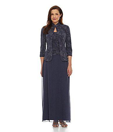 Alex Evenings Beaded Jacquard Jacket Dress #Dillards   Mother of the ...