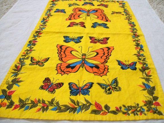Vintage Tea Towel Linen Towel Butterflies by VintagePlusCrafts, $6.00