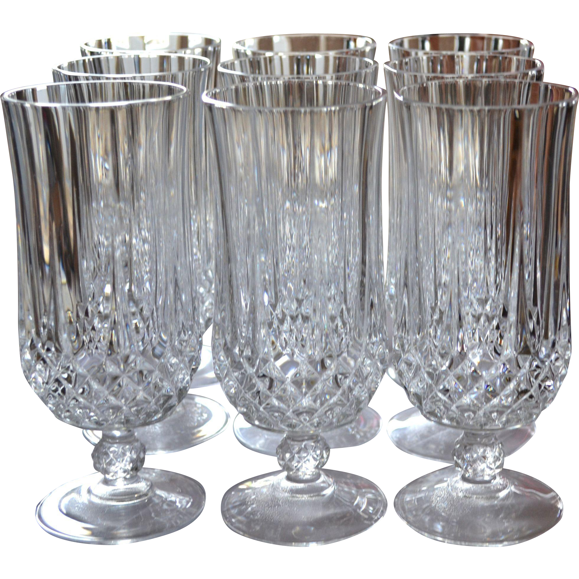 Cristal Darques Verres.Cristal D Arques Longchamp Set Of 9 Lead Crystal Iced Tea Glasses