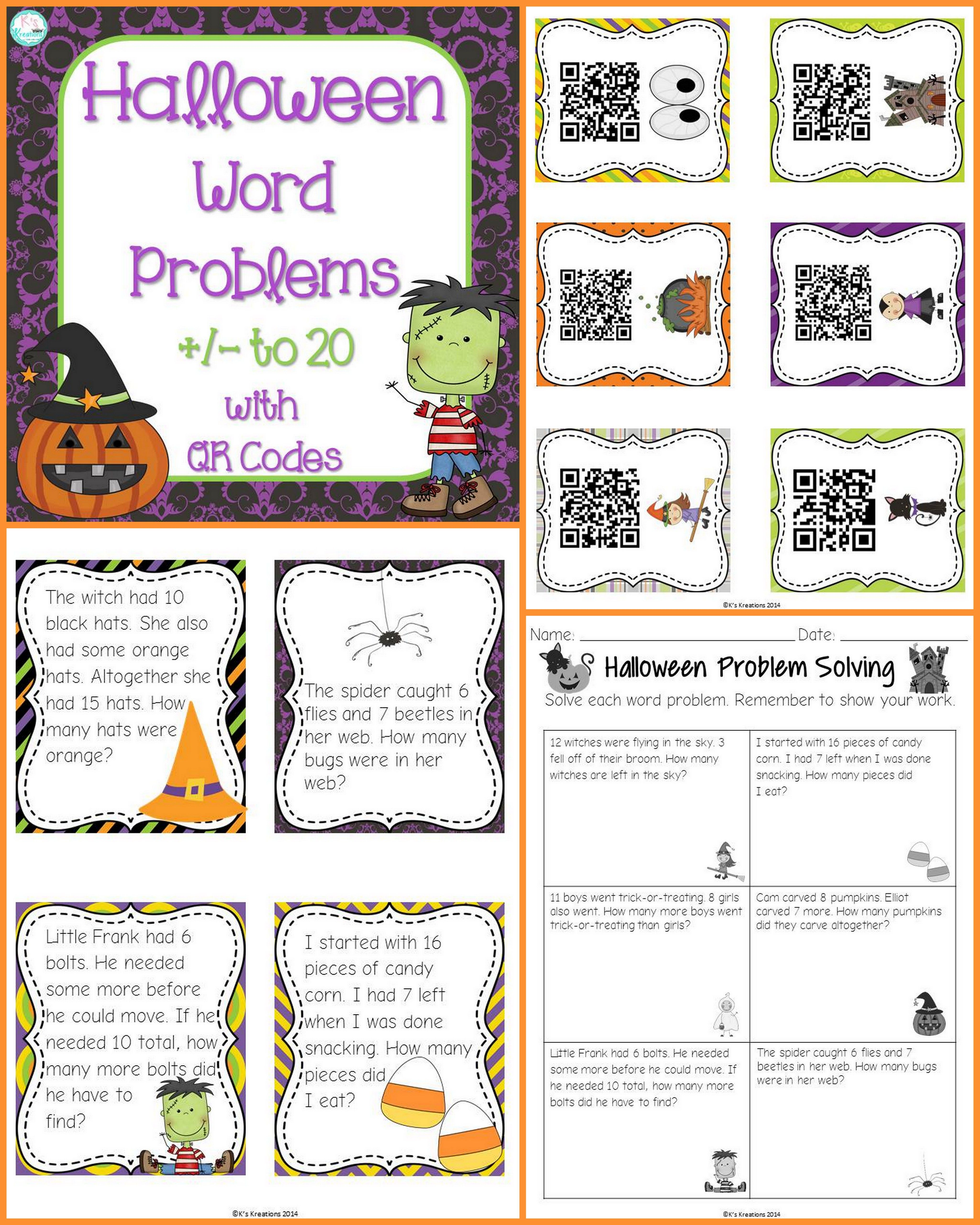 halloween word problems to 20 | first grade math | pinterest | math