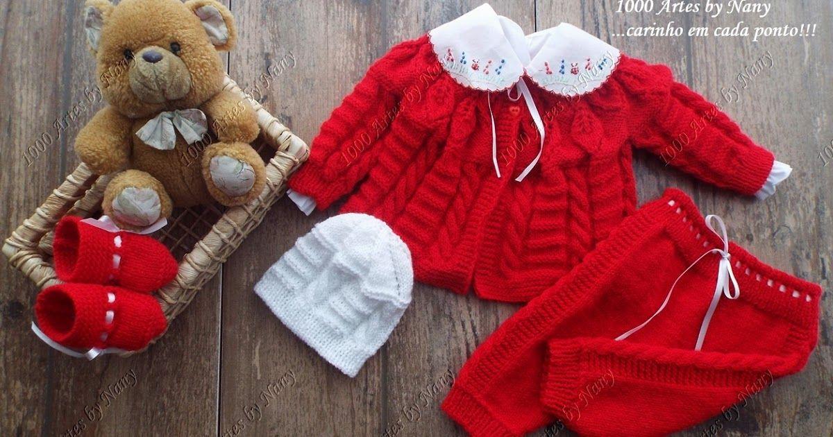 1000 Artes: Casaquinho para bebês em trico - modelo Suzanna