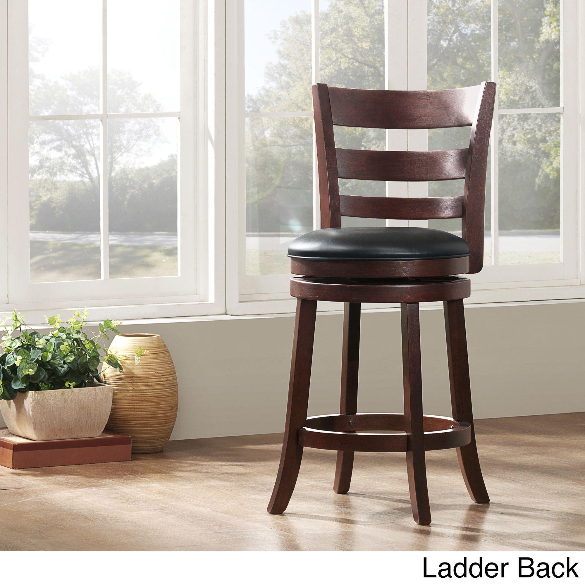 Surprising Tribecca Home Verona Cherry Swivel 24 Inch Counter Height Uwap Interior Chair Design Uwaporg