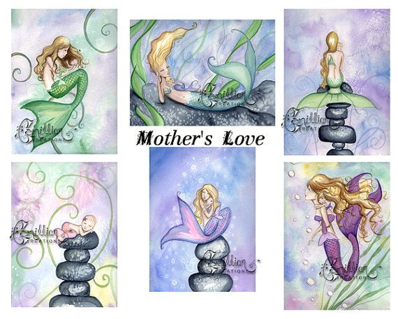 MOTHER/'S LOVE MERMAID NOTE CARDS from Original Watercolors by Camille Grimshaw