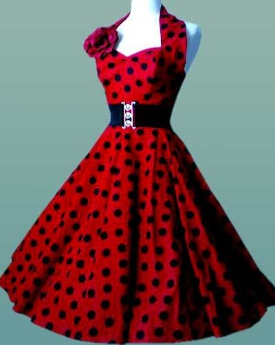 Rockabilly   Pin Up 50 s Dress Red with Black Dots  2d126fb31c1d