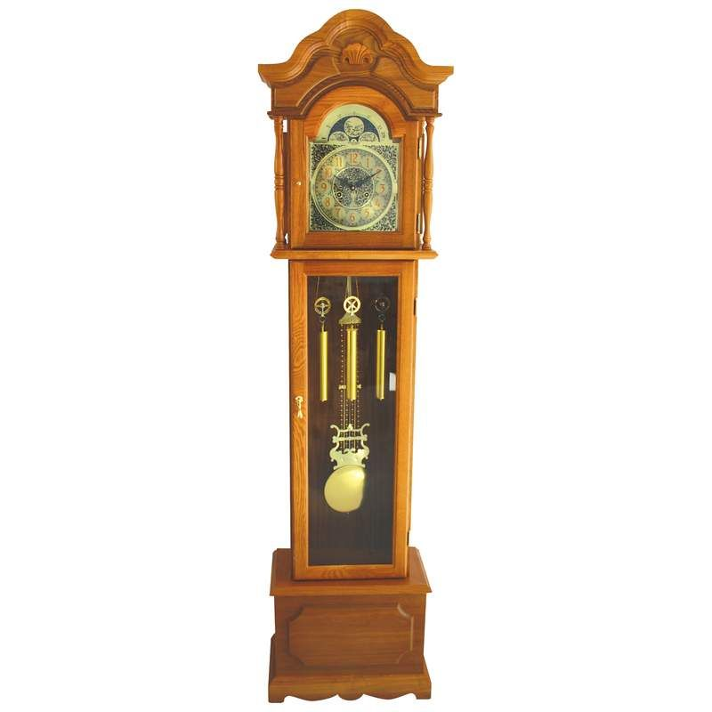 Edward Meyer Oak Grandfather Clock With Beveled Glass 31 Day Movement Beautifully Crafted Wood Winding Key Chimes The Hour Once On The Half Hour Pendulum