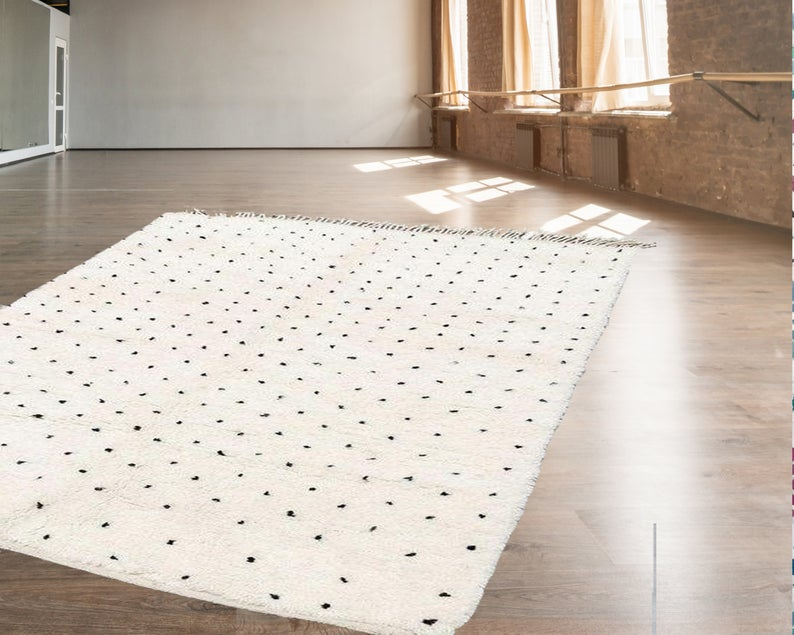 Moroccan Rug Creamy White Moroccan Wool Rug With Black Dots Etsy