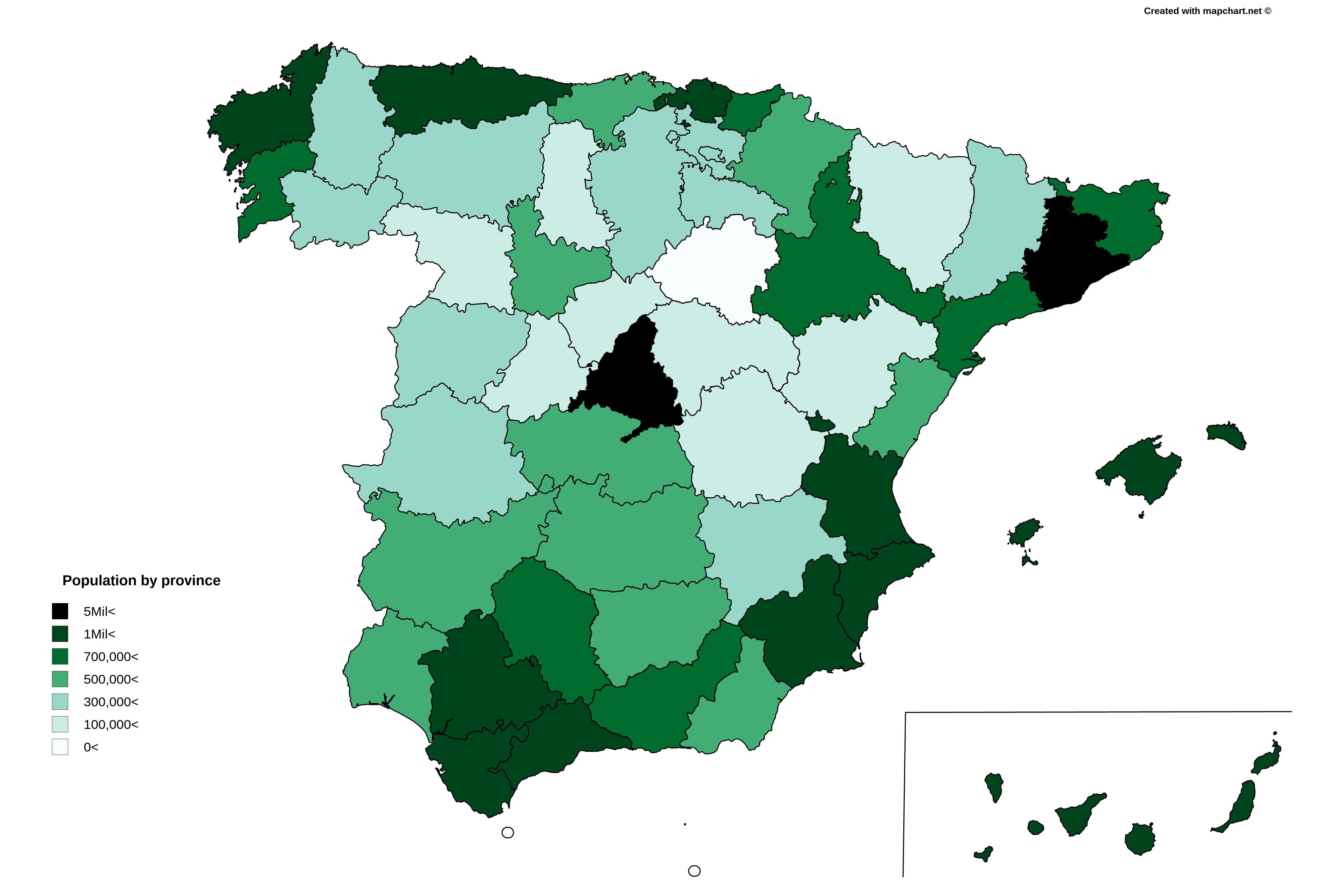 Las provincias por poblacin Spanish Provinces by Population MAPS
