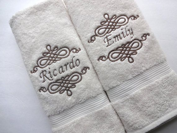 Custom Personalized Bath Towel Sold Individually 4 Sizes Cream