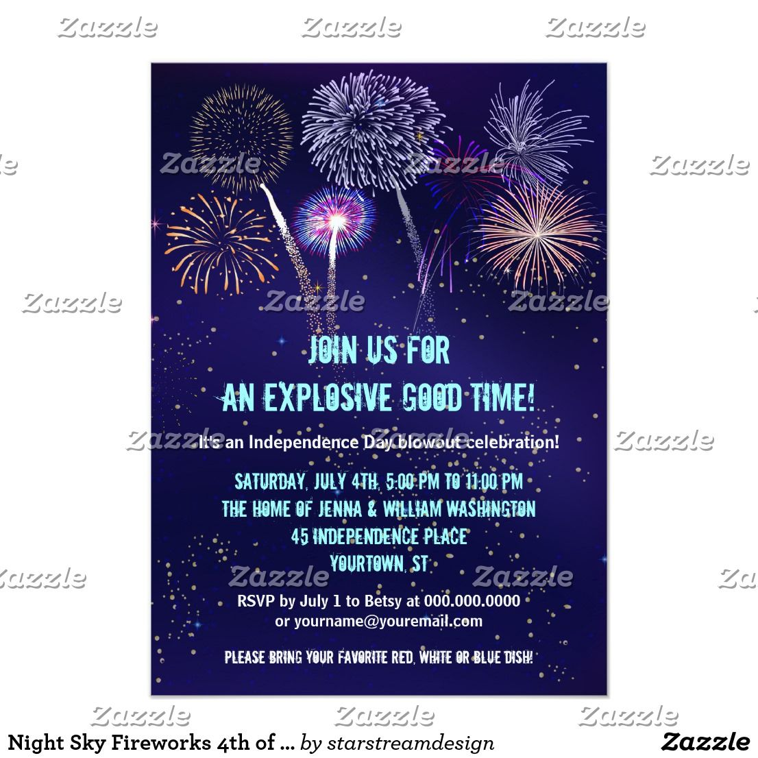 Night Sky Fireworks 4th of July Party Card | Holidays ...